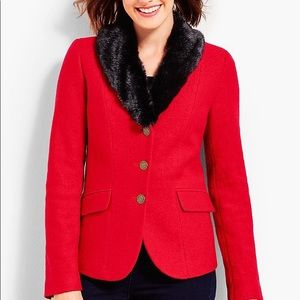 Talbots faux fur collar Aberdeen blazer